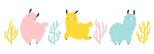 Lama con cactus. personaggio colorato dei cartoni animati in stile scandinavo semplice stile disegnato a mano. vettore isolato su sfondo bianco. ideale per vivaio, cartolina, poster.