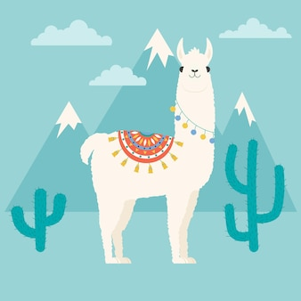 Lama che resta da solo davanti alle montagne e vicino al cactus. illustrazione vettoriale