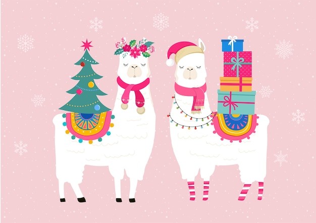 Llama winter, cute for nursery, poster, merry christmas, birthday greeting card