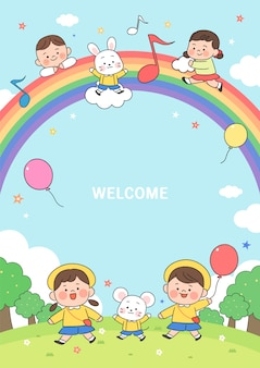 Illustrazione della scuola materna dei cartoni animati. cornice carina con bambini, bambino e cornice