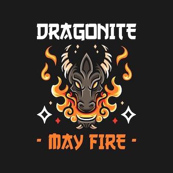Llustration della testa di drago con il fuoco in stile vecchia scuola
