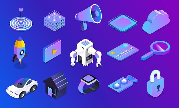 Llustrations concetto di intelligenza artificiale ai set oggetto 3d dispositivo e tecnologia delle apparecchiature