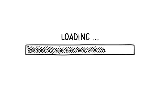 Elemento di doodle della barra di caricamento. stile di schizzo di linea disegnata a mano. velocità di download lenta, stato di avanzamento, concetto di barra di caricamento di internet. illustrazione vettoriale isolato.