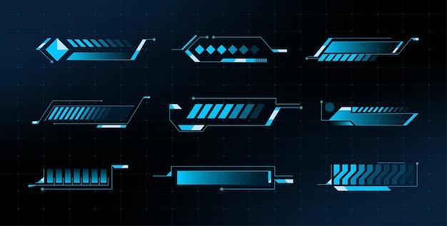 Caricamento delle barre impostate. fantascienza moderna. barra di avanzamento dell'interfaccia utente futuristica hud. vettore