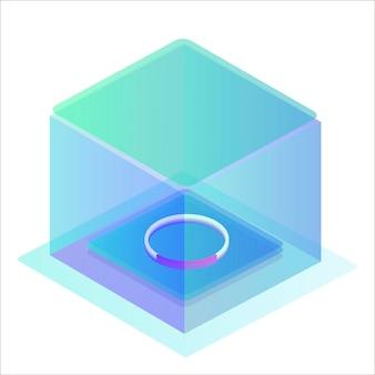 Pulsante della casella di caricamento modello di download moderno per un sito web illustrazione vettoriale isometrica