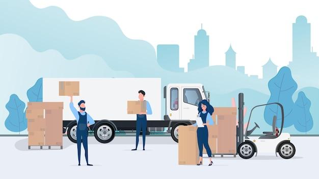 Caricamento del carico in macchina. i traslocatori portano scatole. il concetto di trasloco e consegna. camion, carrello elevatore, caricatore. .