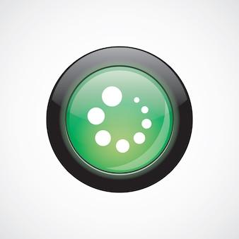 Caricamento vetro segno icona verde lucido pulsante. pulsante del sito web dell'interfaccia utente