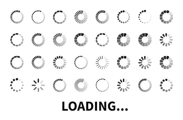 Icona di caricamento grande insieme isolato su priorità bassa bianca. icone del caricatore da utilizzare nel web design, app, interfaccia e gioco. segno di carico piatto, simbolo.