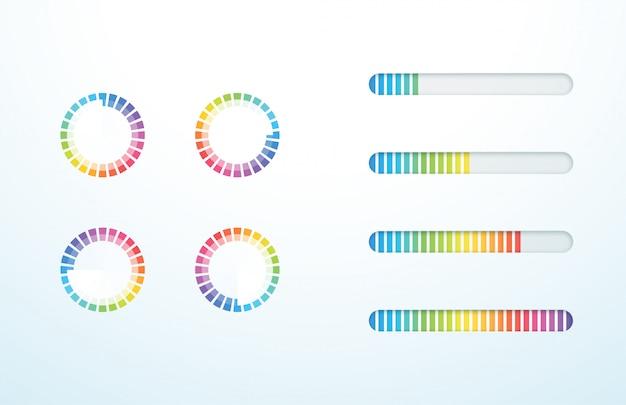 Icona di caricamento barra di avanzamento simbolo set colorato