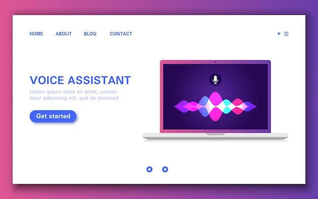 Pagina di caricamento dell'assistente vocale intelligente con onda sonora sul computer.