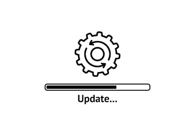 Processo di caricamento. aggiorna l'icona del sistema. concetto di aggiornamento dell'icona di avanzamento dell'applicazione per la progettazione grafica e web. aggiorna aggiorna l'icona del sistema.