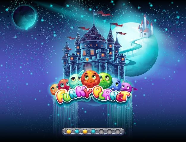 Schermata di caricamento per un gioco per computer sul tema dello spazio e dei pianeti allegri. c'è una barra di avvio. set2.