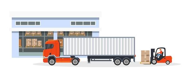 Magazzino carico e scarico pacchi. camion di logistica di consegna e carrello elevatore che mettono scatole di merci in auto. processo di spedizione per posta o deposito merci. vettore di distribuzione espresso commerciale piatto
