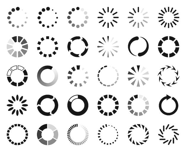 Caricamento icona vettore buffering interfaccia web simbolo cerchio barra di avanzamento download progressione riavvio