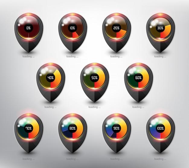 Caricamento del buffer del sito web. icona di caricamento in stato e percentuale di caricamento diversi. isolato sulla superficie bianca.