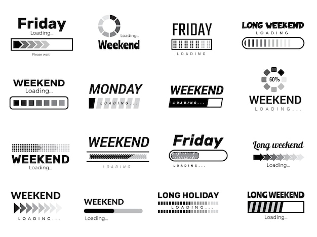 Caricamento della barra della settimana. interfaccia utente aziendale web citazione immagini giorni della settimana pigri vettore immagini divertenti. scarica l'interfaccia utente, scarica la motivazione in attesa delle vacanze