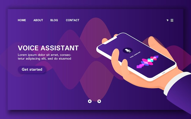 Carica la pagina di destinazione dell'assistente vocale intelligente. mano che tiene uno smartphone.