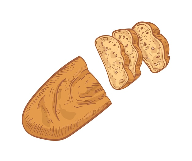 Pagnotta di pane tagliata a fette isolata