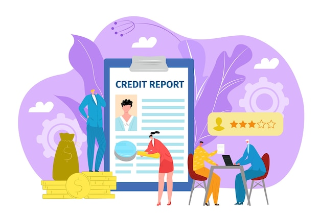 Concetto di domanda di prestito, credito nell'illustrazione della banca. modulo o documento finanziario nell'ufficio bancario che mostra le finanze dell'uomo d'affari. prestito bancario, obitorio, debiti monetari o investimenti.