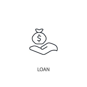 Icona della linea del concetto di prestito illustrazione di semplice elemento contorno del concetto di prestito