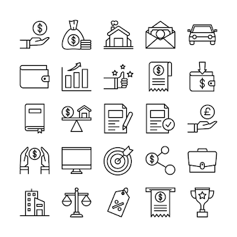 Pacchetto di icone di prestiti, con stile icona di contorno