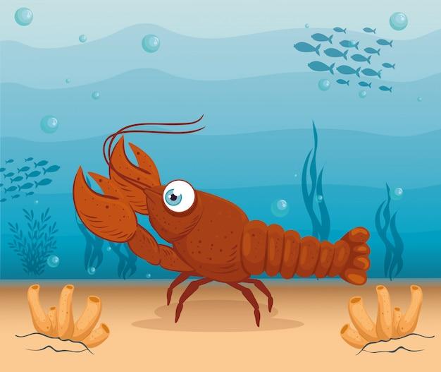 Animale marino dell'aragosta in oceano, abitante del mondo del mare, creatura subacquea sveglia, concetto del marinaio dell'habitat