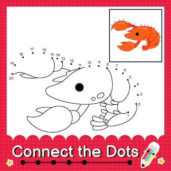 Il puzzle dei bambini di aragosta collega il foglio di lavoro dei punti per i bambini che contano i numeri da 1 a 20