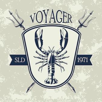 Illustrazione di emblema vintage grigio nautico aragosta