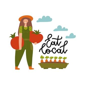 Illustrazione di vettore del fumetto di produzione biologica locale. eat local - stampa scritta. contadina in stile piatto moderno con verdure enormi. giardiniere femminile che tiene grandi pomodori.