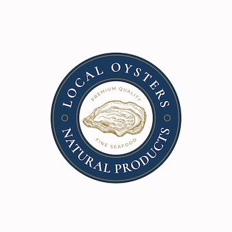Ostriche locali astratte vector segno simbolo o logo modello disegnato a mano mollusco shell schizzo illustrat...