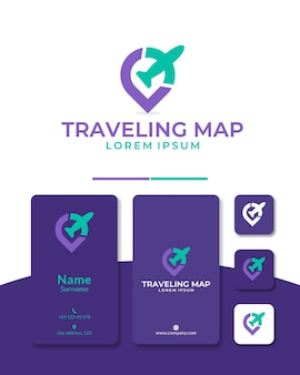 Locale aereo logo design mappa di viaggio gps