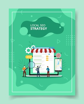 Strategia seo locale persone in piedi davanti laptop e commerce app in mostra, poster.