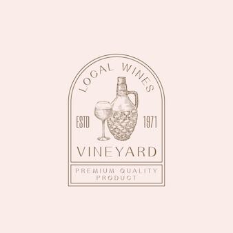 Modello di logo del telaio moderno della vigna dei vini locali.