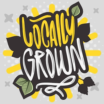 Locally grown hand drawn brush lettering calligraphy graffiti tag style type logo design
