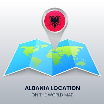 Posizione di albania sulla mappa del mondo, icona spilla rotonda di albania