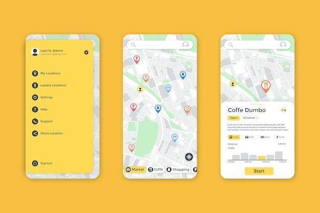 Interfaccia dell'app di localizzazione
