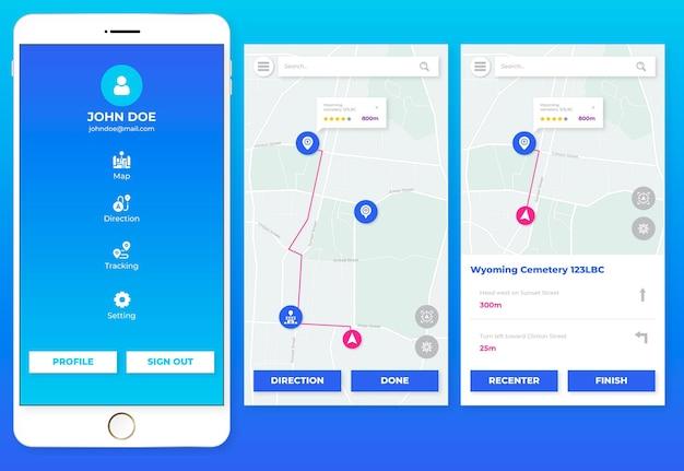Schermate delle app di localizzazione