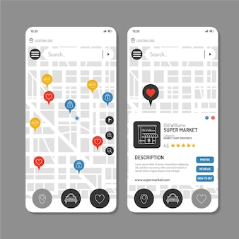 Raccolta di schermate di modelli di app di posizione