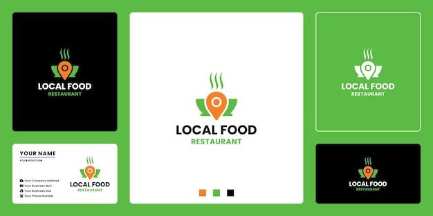 Design del logo del cibo di posizione. la ciotola del cibo si combina con la posizione del perno
