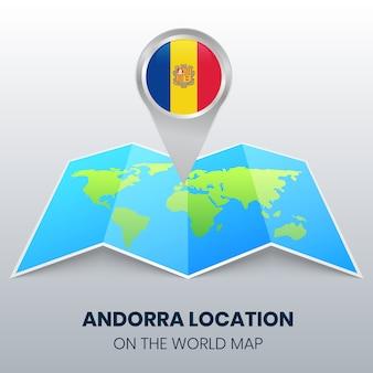 Icona di posizione di andorra sulla mappa del mondo