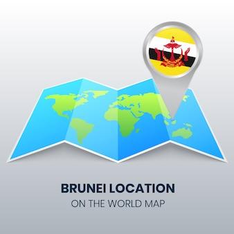 Icona della posizione del brunei sulla mappa del mondo, icona del perno rotondo del brunei