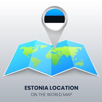 Icona della posizione dell'estonia sulla mappa del mondo, icona spilla rotonda dell'estonia
