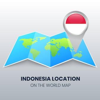 Icona della posizione dell'indonesia sulla mappa del mondo, icona del perno rotondo dell'indonesia