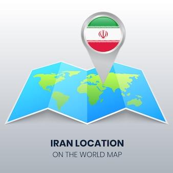 Icona della posizione dell'iran sulla mappa del mondo, icona del perno rotondo dell'iran