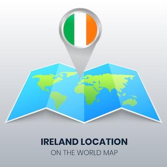 Icona posizione dell'irlanda sulla mappa del mondo, icona spilla rotonda d'irlanda