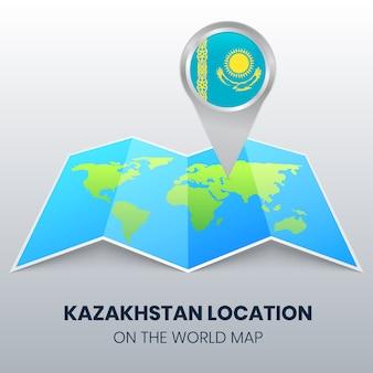 Icona della posizione del kazakistan sulla mappa del mondo
