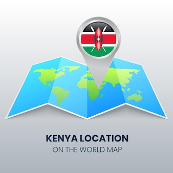Icona della posizione del kenya sulla mappa del mondo