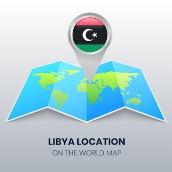 Icona della posizione della libia sulla mappa del mondo, icona del perno rotondo della libia