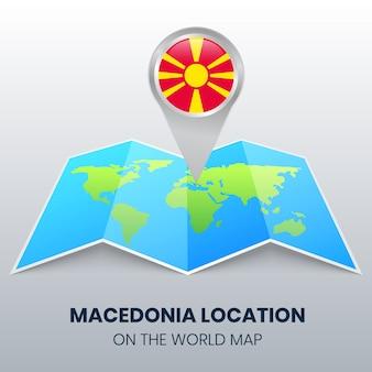 Icona della posizione della macedonia sulla mappa del mondo, icona spilla rotonda della macedonia