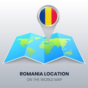 Icona della posizione della romania sulla mappa del mondo